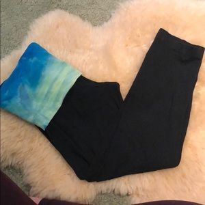 Hardtail tie dye rollover capri leggings